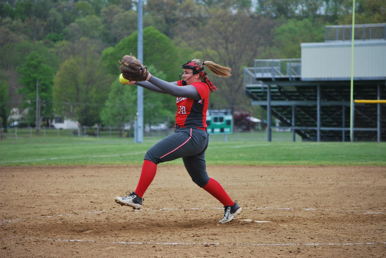 Times' Athlete of the Week of May 13 Madison Slowinski pitches at the game at Riverside on May 4.