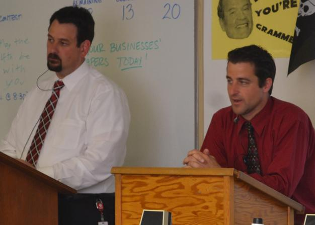 Mr.+Deal+and+Mr.+Smith+answer+questions+during+FHS+Meets+the+Press.