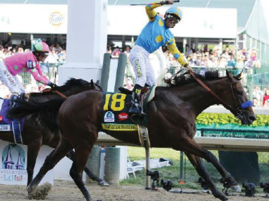 American+Pharoah+beats+out+Dortmund+and+Firing+Line+to+win+the+Kentucky+Derby+on+May+2.