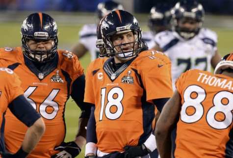 EAST RUTHERFORD, NJ - FEBRUARY 2: Denver Broncos quarterback Peyton Manning (18) during the fourth quarter.  The Denver Broncos vs the Seattle Seahawks in Super Bowl XLVIII at MetLife Stadium in East Rutherford, New Jersey Sunday, February 2, 2014. (Photo by Hyoung Chang//The Denver Post)