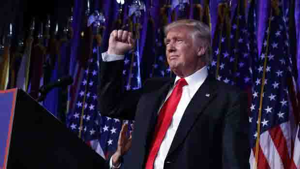 Donald Trump delivers his victory speech on Nov. 9 after winning the presidential election.