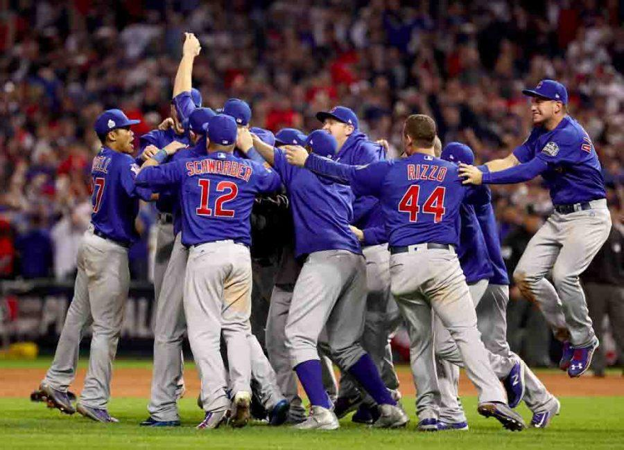Chicago players, coaches and staff celebrate a World Series victory