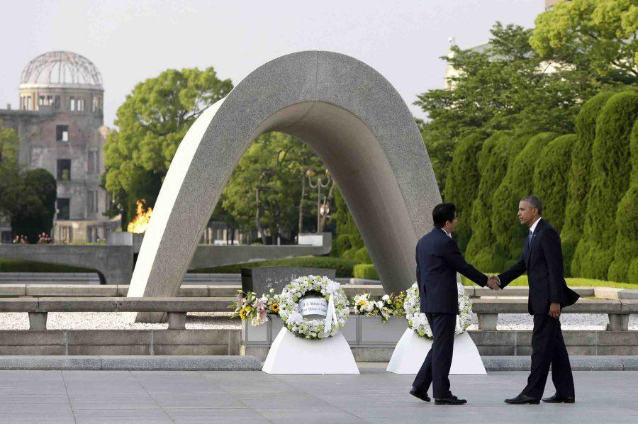 """As described by White House press secretary, Josh Earnest, President Barack Obama visiting Hiroshima with Prime Minister Shinzo Abe was """"a powerful image seeing the American president and the Japanese prime minister standing side by side in that city."""""""