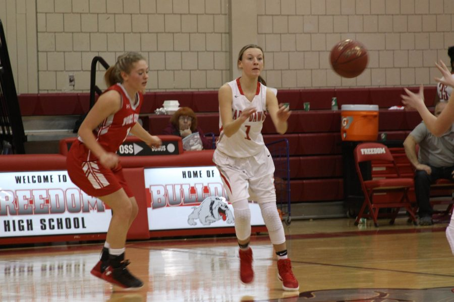 Freshman Morgan Swab catches the ball in the Dec. 15 game against Fort Cherry.