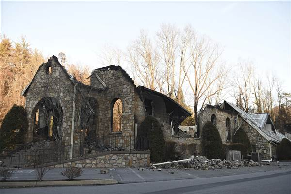 The remainings of a house that suffered damages from the Gatlinburg fire that began destruction on Nov. 28.