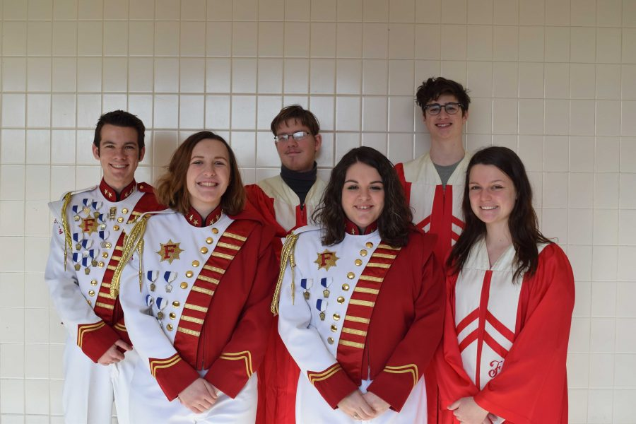 From left to right: Kameron Mayhue, Hannah Shumsky, Aaron James, Nikki Kammer, Dante Colorito and Claudia Huggins attend district band and chorus festivals