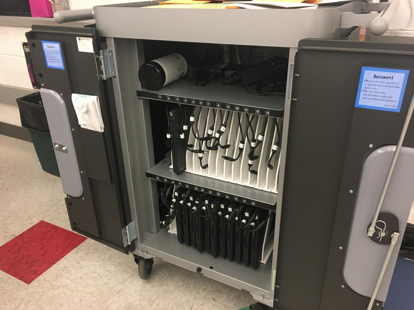 Students in Ms. Carole Hartman's seventh-grade English class are able to use a Chromebook cart for class assignments and Classroom Diagnostic Tests (CDTs).