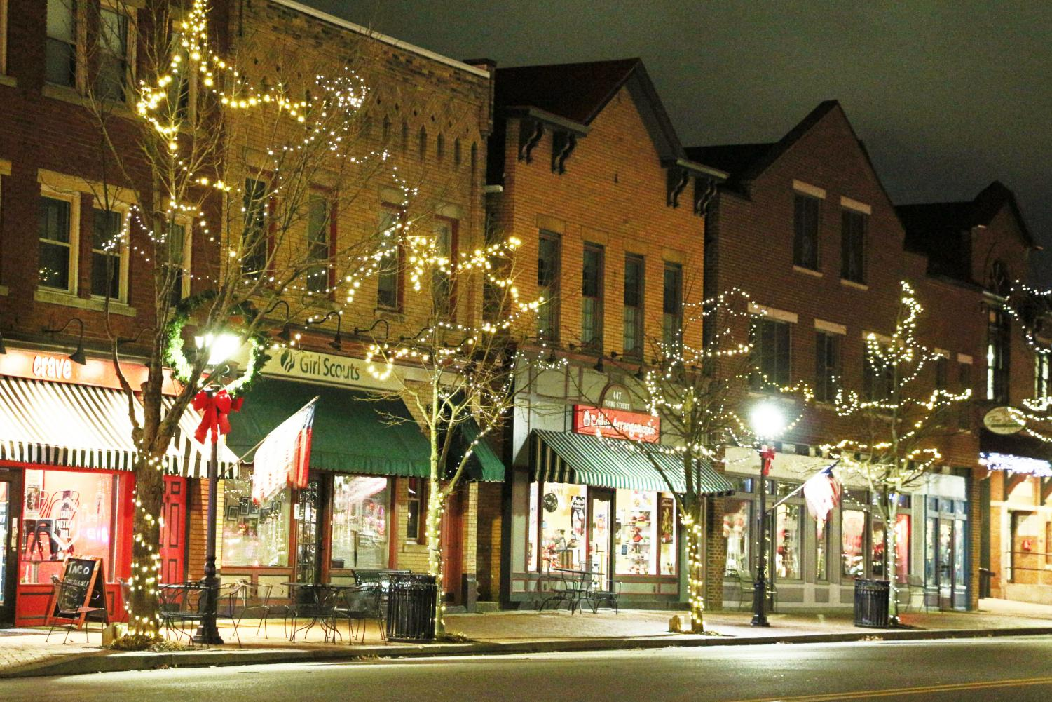 Stores and Christmas lights make the town of Beaver festive on Third Street.