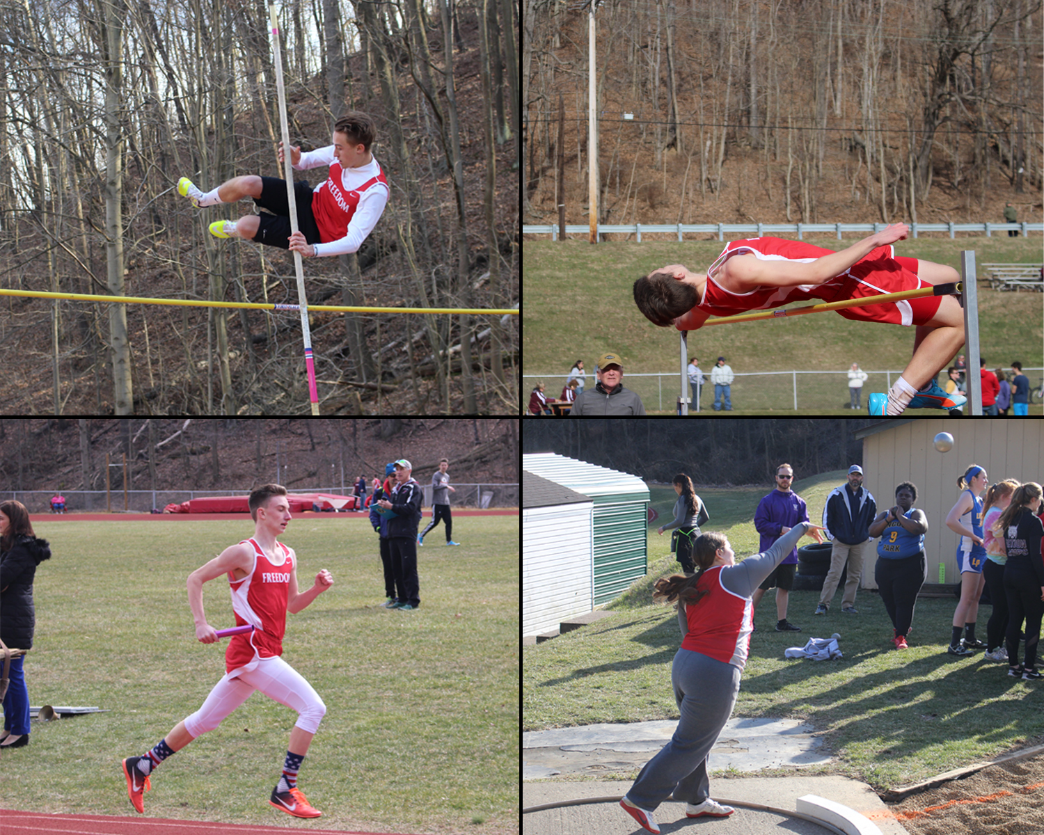 Seniors Ryan Linedeck (top left), Benjamin Wright (top right), Haley Velemirovich (bottom right) and junior Ethan Paxton (bottom left) were some of the many Freedom athletes who attended and competed in the scrimmage at Beaver on March 19.