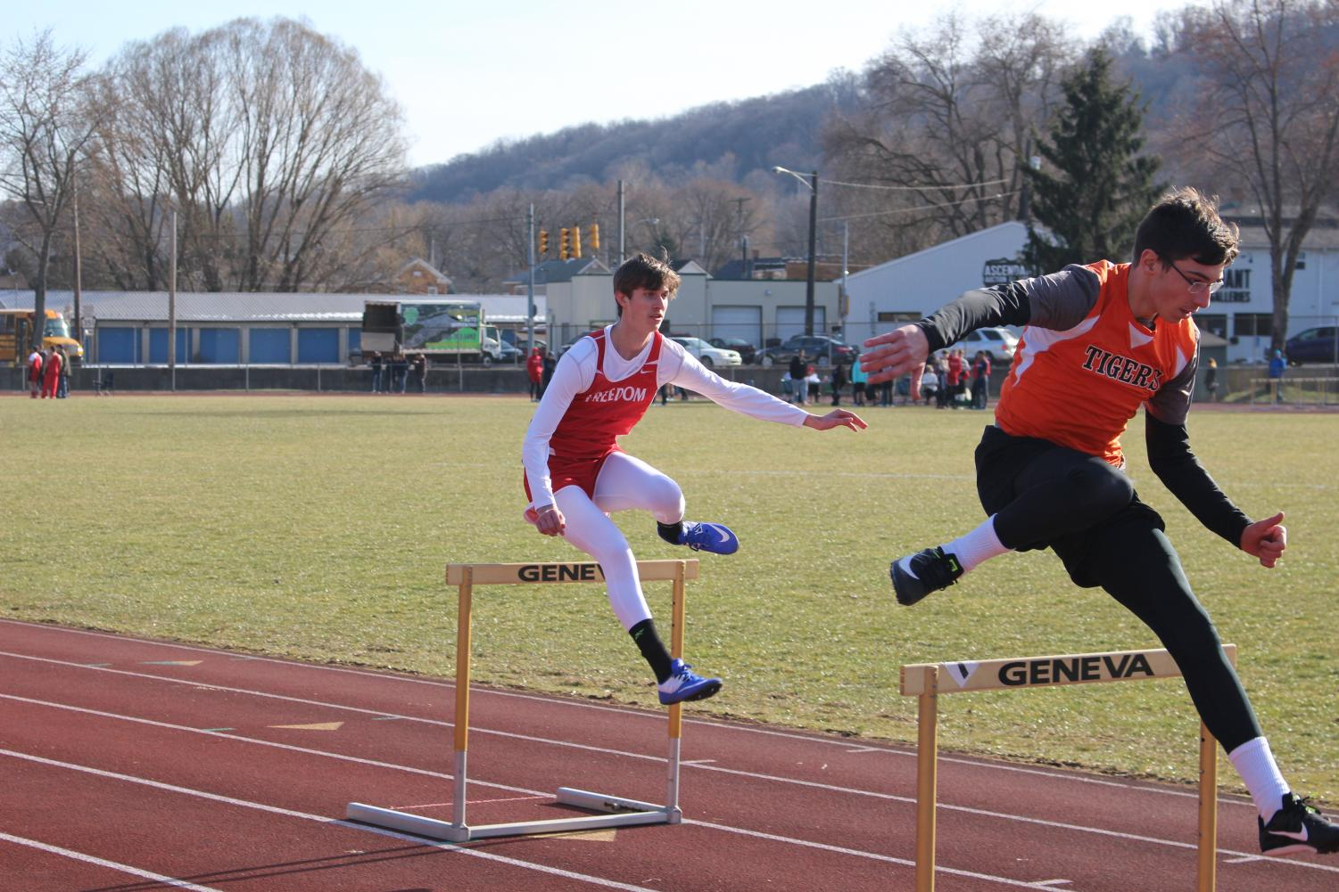 Steven Buerkle clears a hurdle in a race at Beaver Falls on March 29.