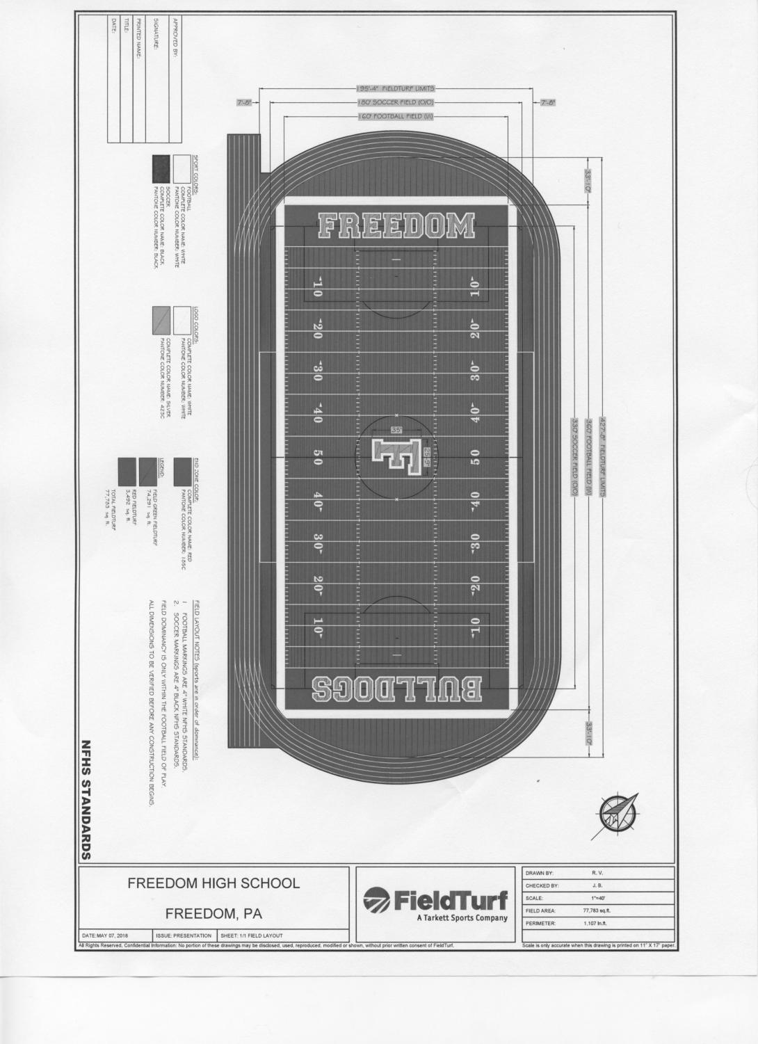"This drawing is one of the final drafts for what the field will look like once it is done, excluding the ""F"" in the middle of the field."