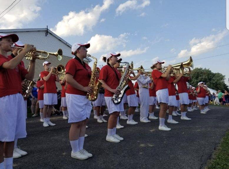 "The FHS ""Big Red"" Marching Band playing for the community on the first day of the fair, Aug. 28."