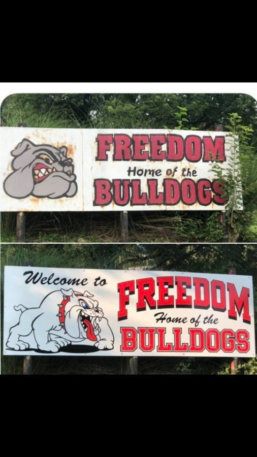 Over the summer, the Freedom Football Alumni Association redid the sign at the bottom of Harvey Run Road leading up to the school.