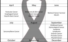 A  calendar of the various cancer awareness months. Some months do not have a specific cancer they are focusing on, while others may have up to seven.