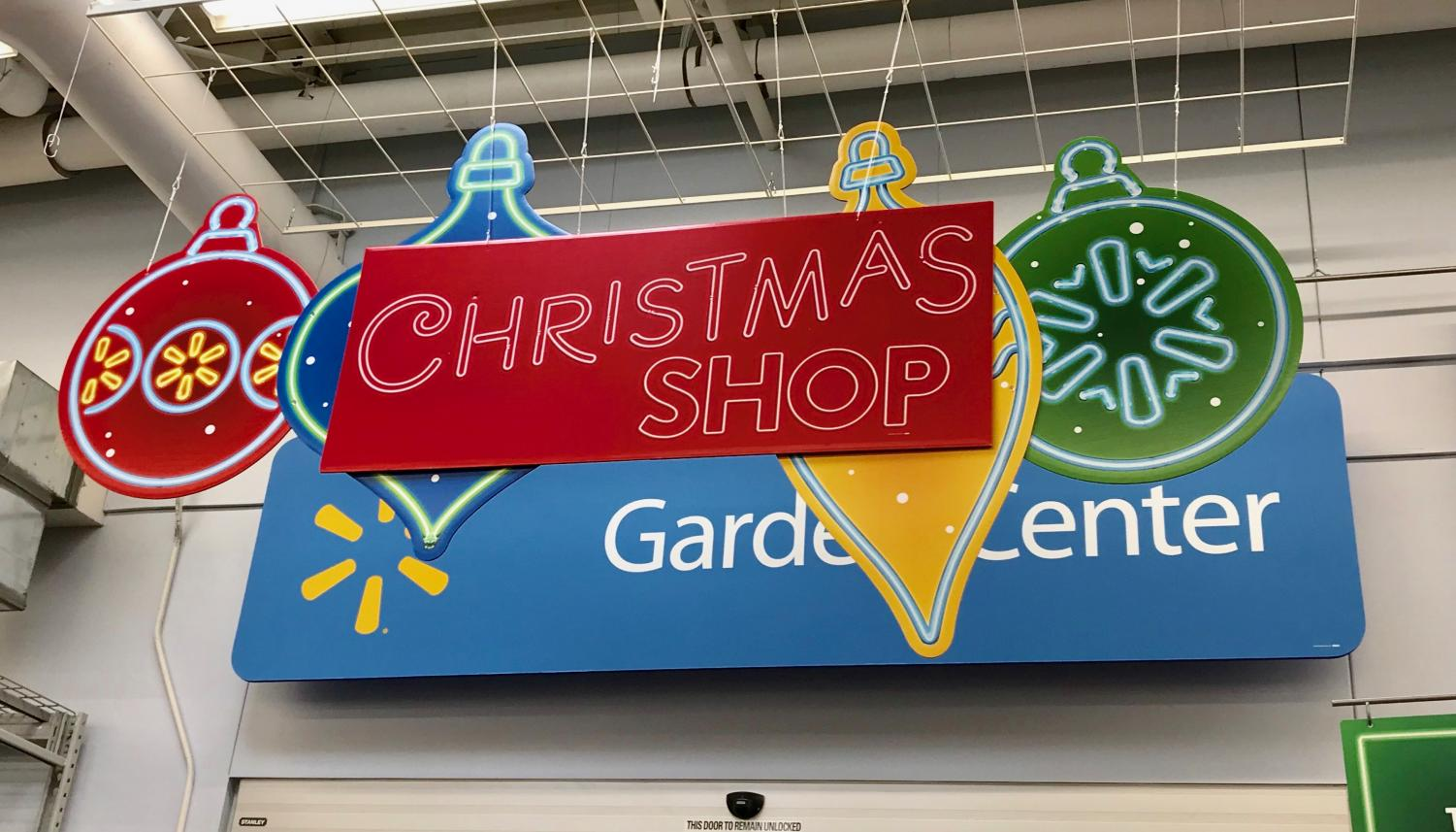 By mid-October, the Walmart located in Baden had already dedicated its garden center to the Christmas Shop for the season.