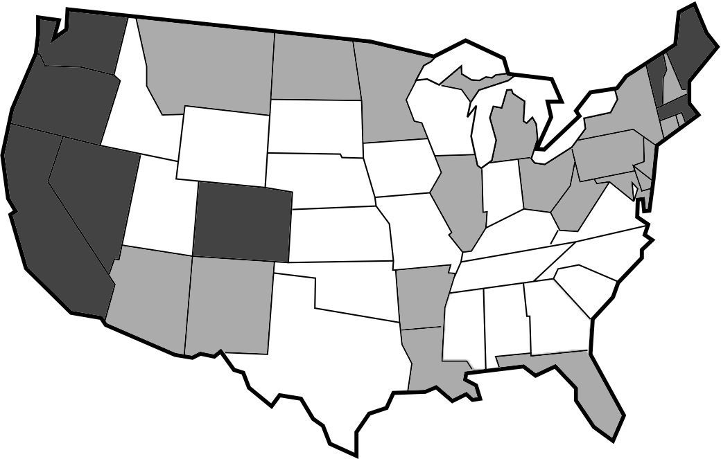 The states that are colored darker are states that currently have fully legalized the recreational use of marijuana, while lighter-colored states have fully enforced bills on the legalization of medical marijuana