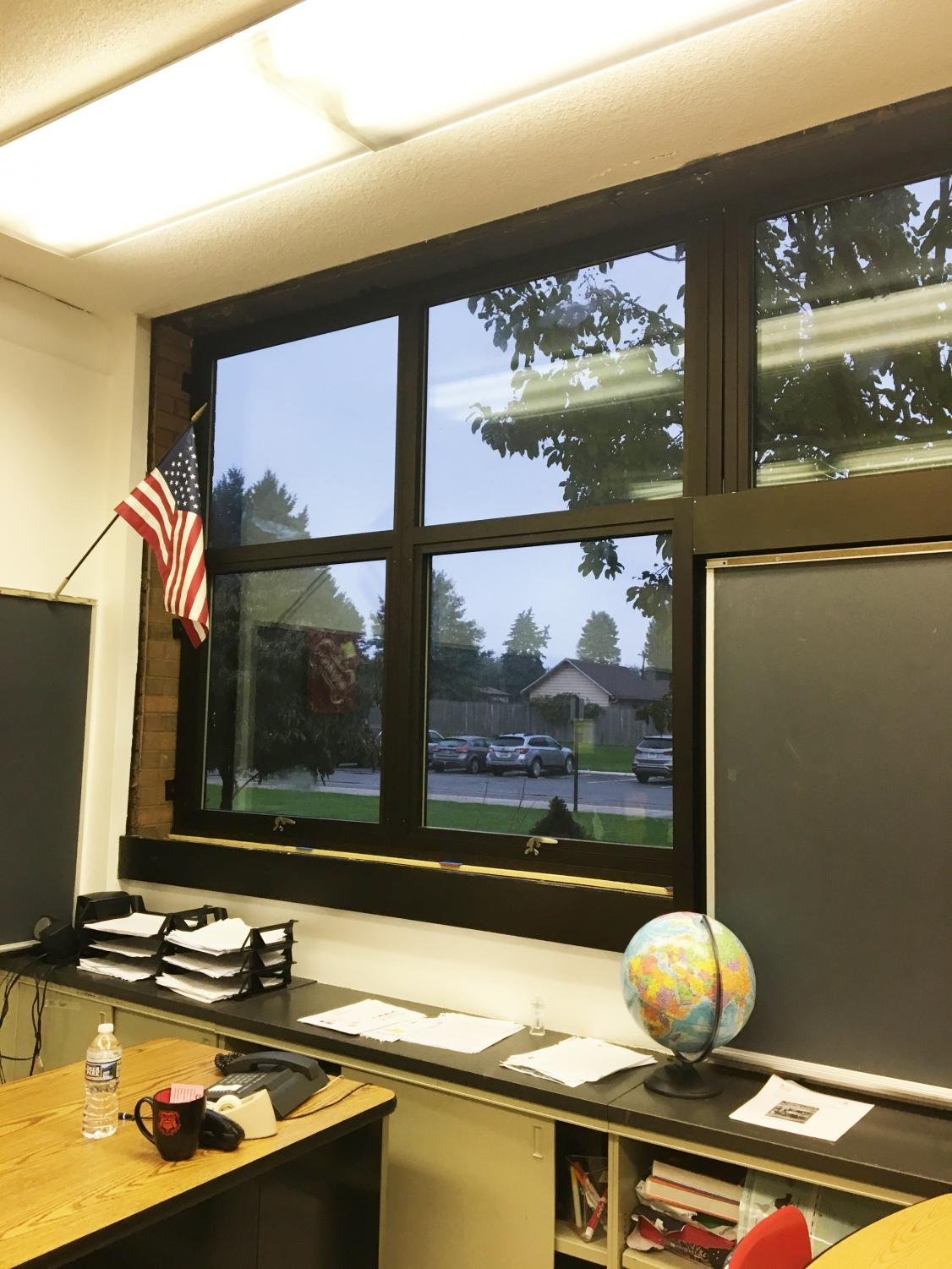 The photo above shows the newly installed windows in Mr. Griffith's room on the first floor of the school.