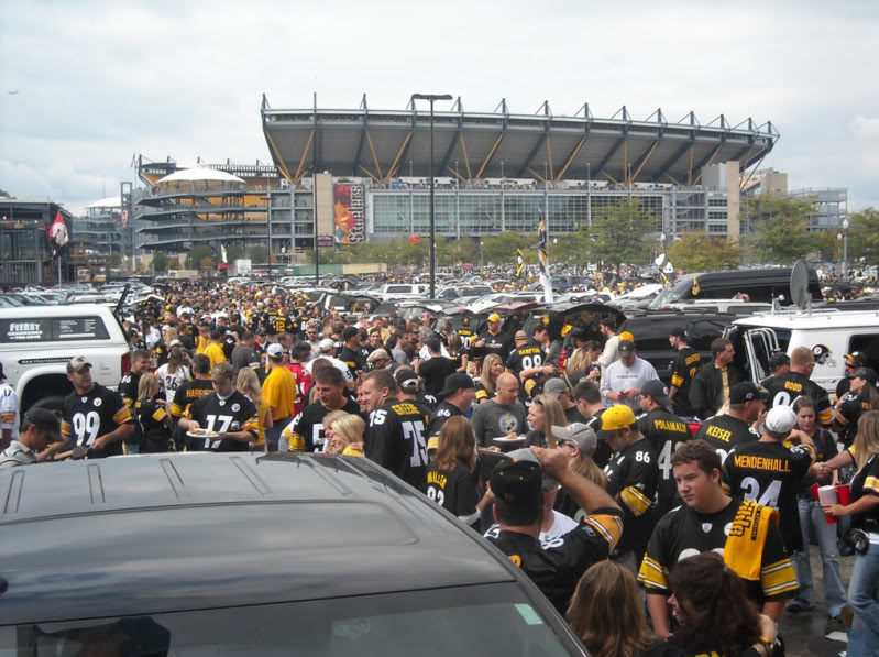 Steelers fans gather in the parking lots near Heinz Field to get ready for the game.