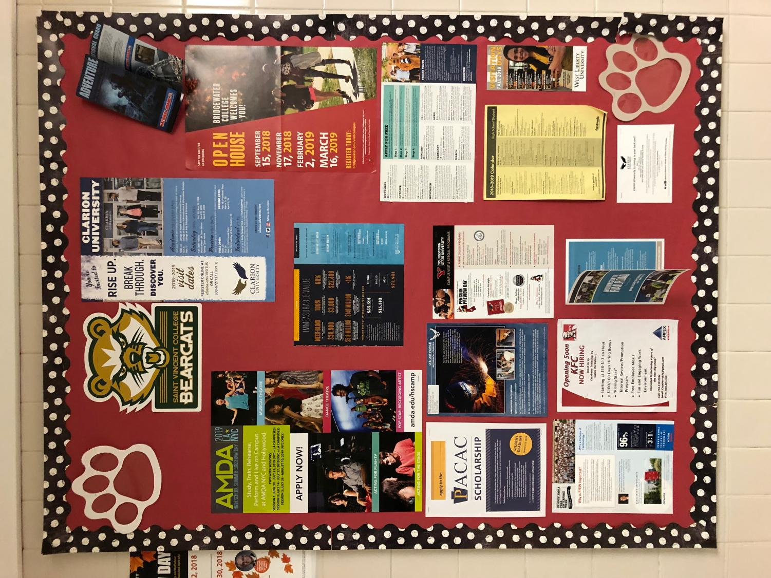 This bulletin board is filled with flyers of colleges  and additional information for those who are interested. The board can be found on the main floor at the high school.