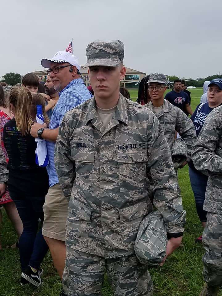 Freedom alum Ian Moran stands for a photo after graduating from Air Force Basic Military Training on Sept. 14.