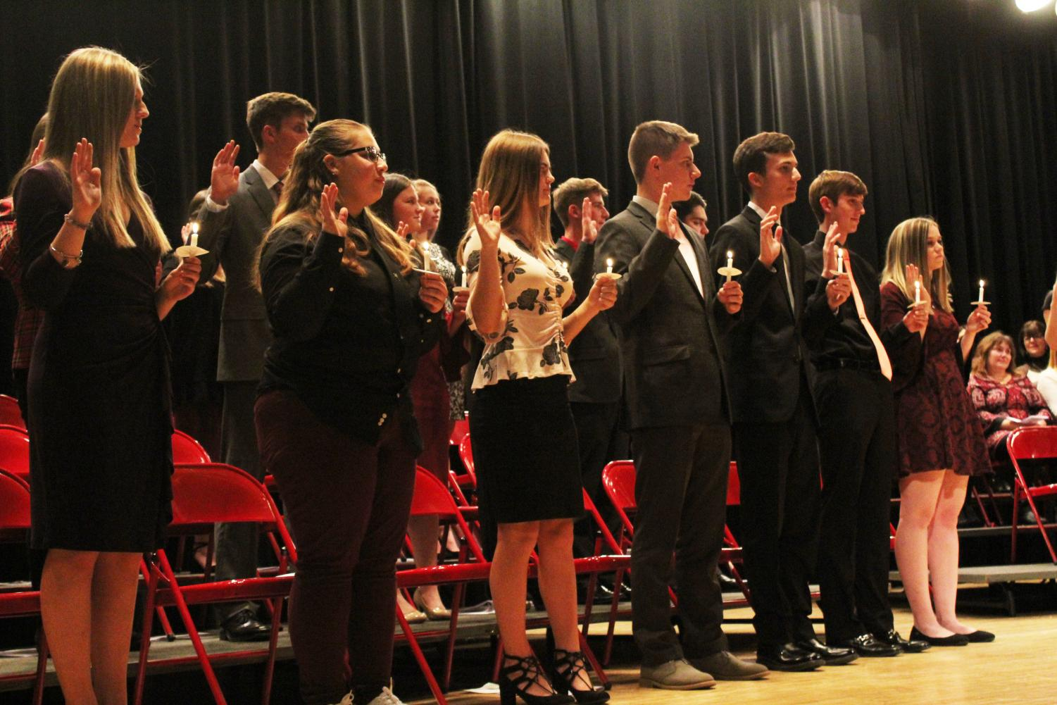NHS indoctrination on Oct. 8th with both old and new members following the traditional ceremony.