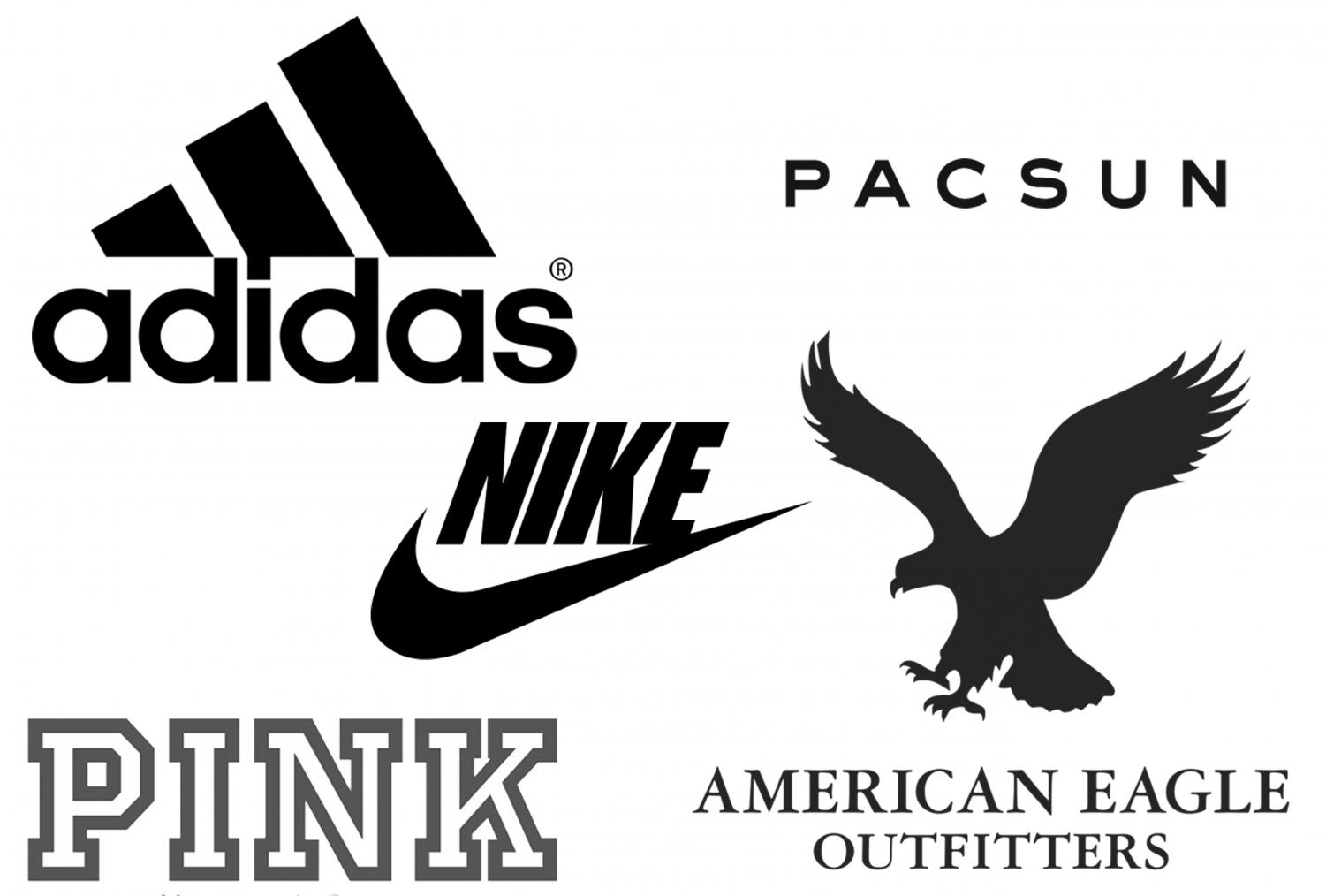 Many of these name brand companies are popular amongst teenagers.