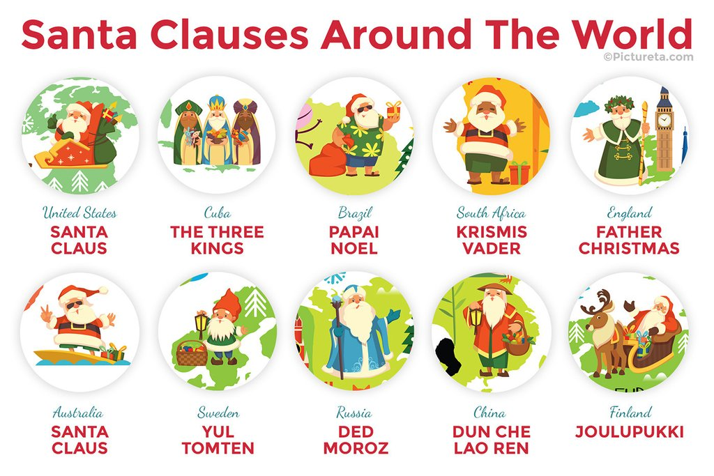 Shown above are just a couple of the Santa's you can find located around the world.