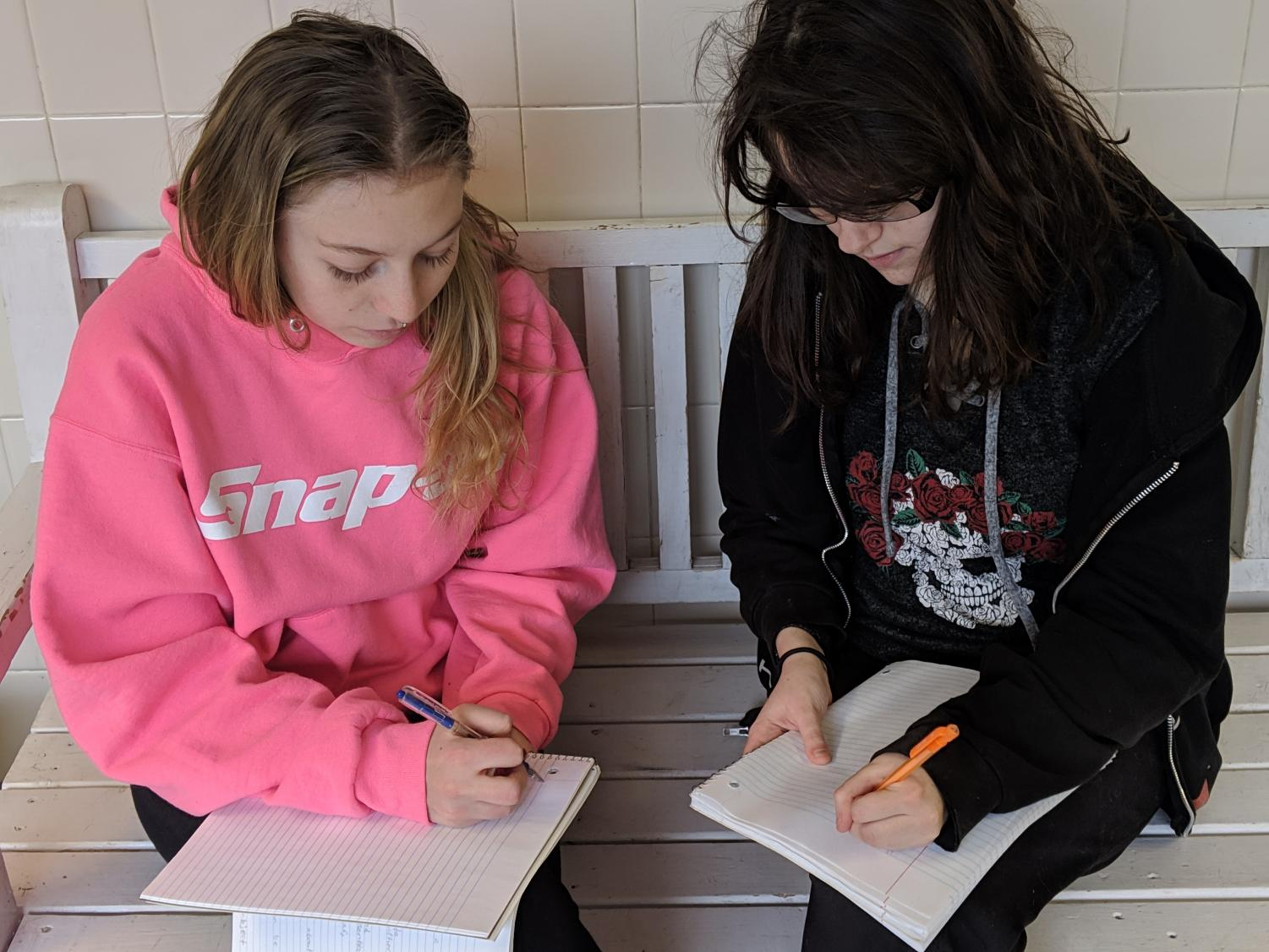 Sitting side by side, senior Heather Cleek and junior Alyson Horner write the same thing. They compare the left-handed writing of Horner to the right-handed writing of Cleek, both of which have a unique style.