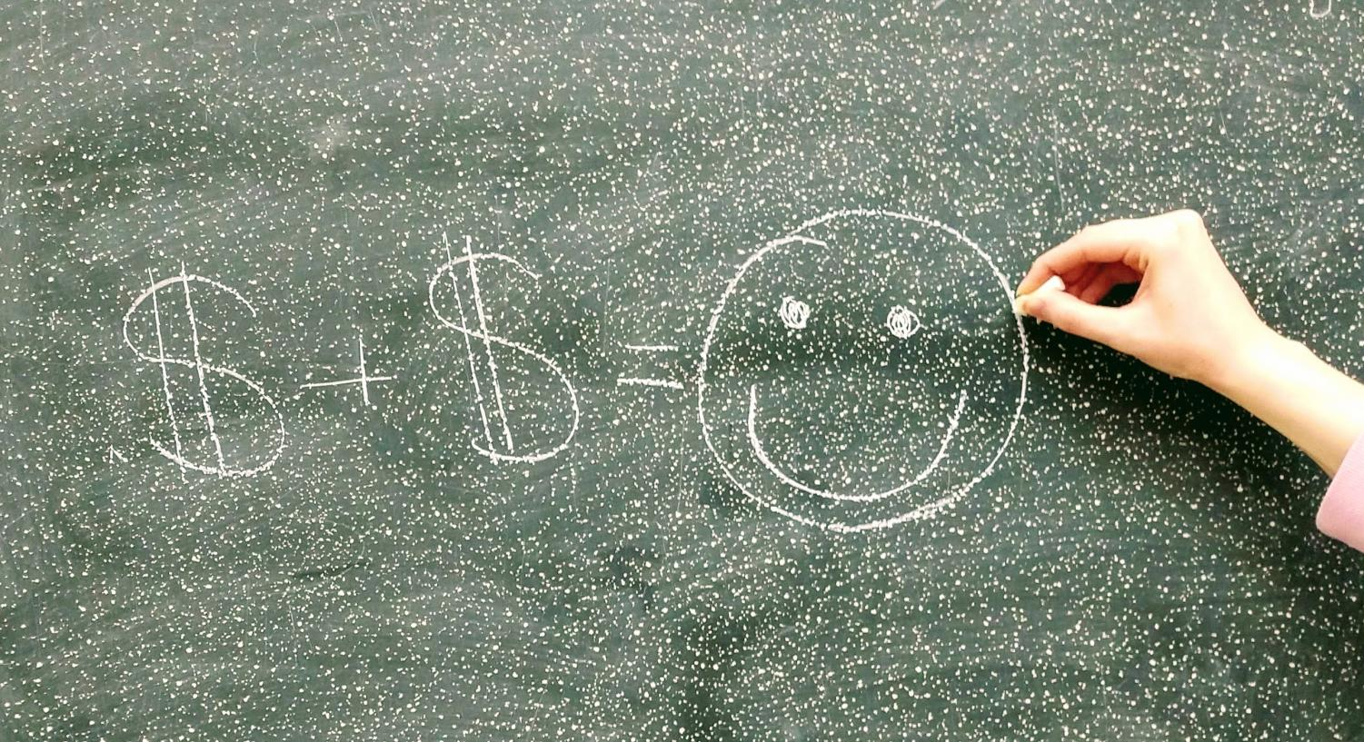 Happiness is almost like an equation; and when more money is added to the picture the amount of overall happiness increases.