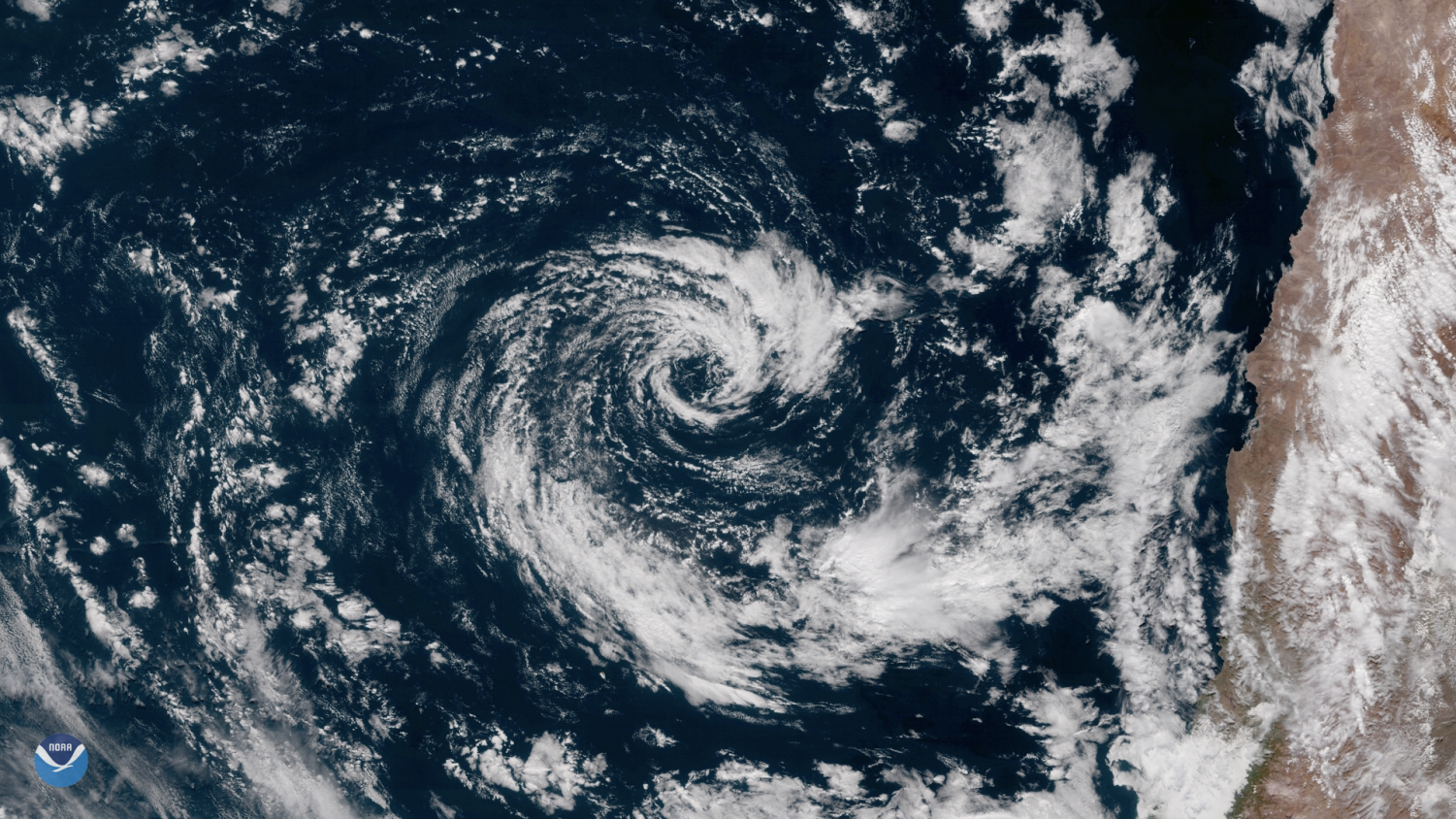 An overview of the rare subtropical storm in Chile shows the storm nearing the coast.