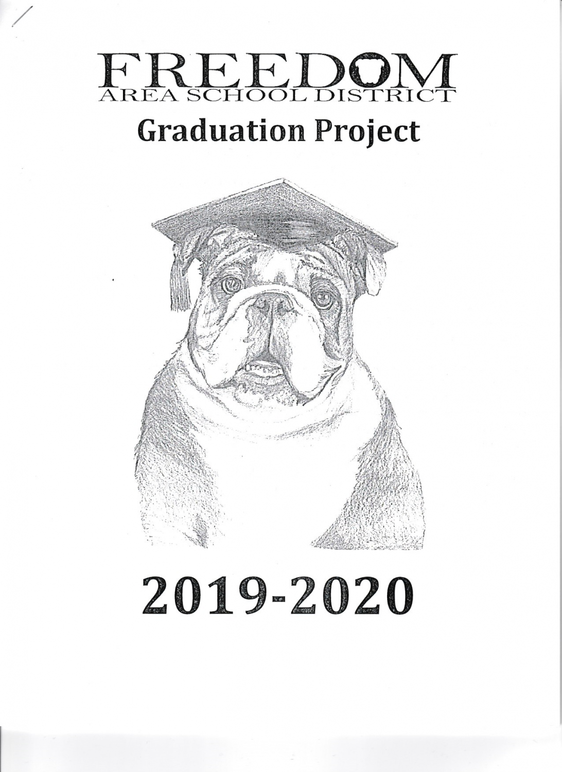 This artwork of a bulldog with a graduation cap on was created by high school art teacher Kaylee Haggerty and is on the front cover of every senior project packet that all the upcoming seniors received.