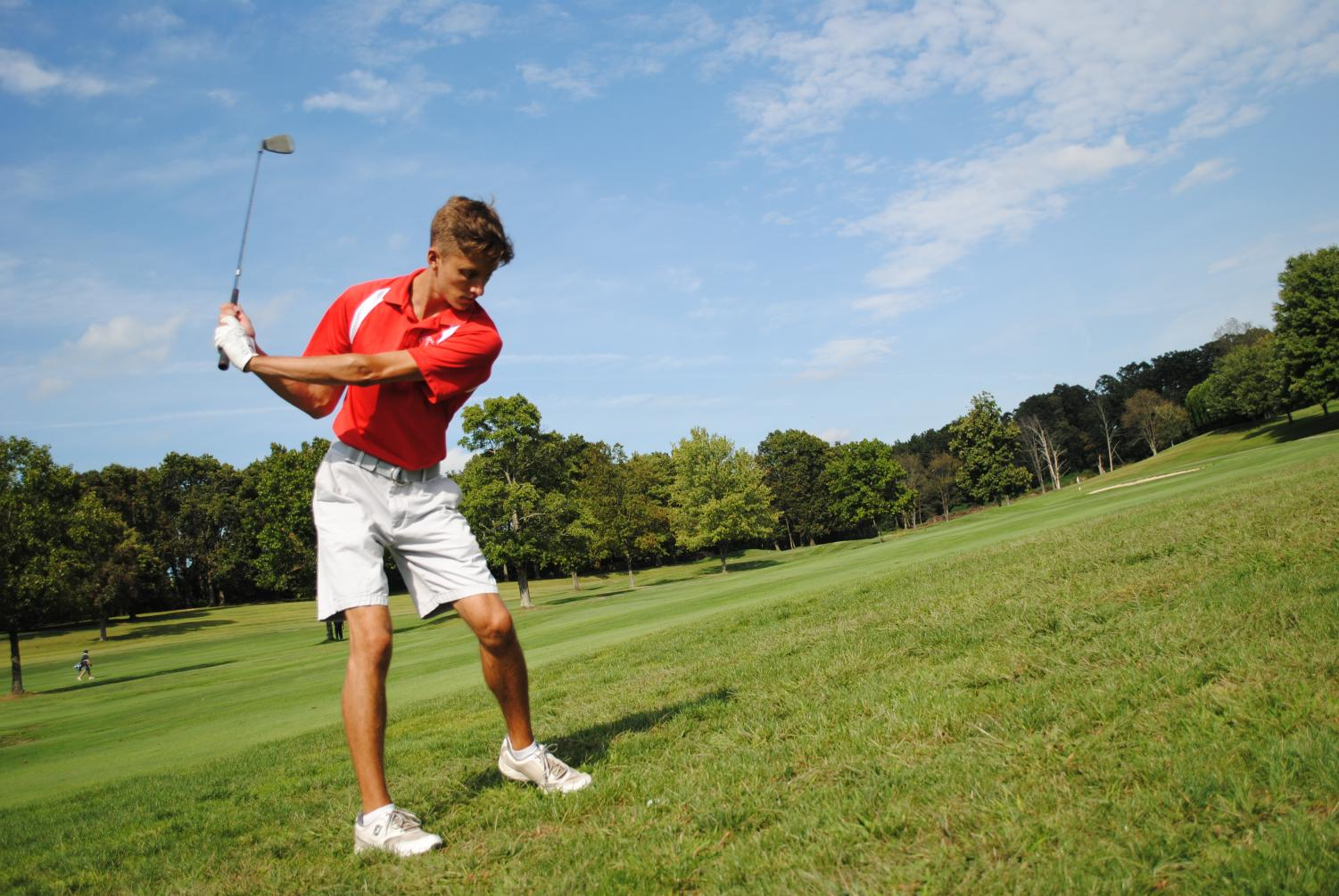 Senior Matthew Levenson practices his swing on sunny evening at a match against Central Valley on Sept. 3.