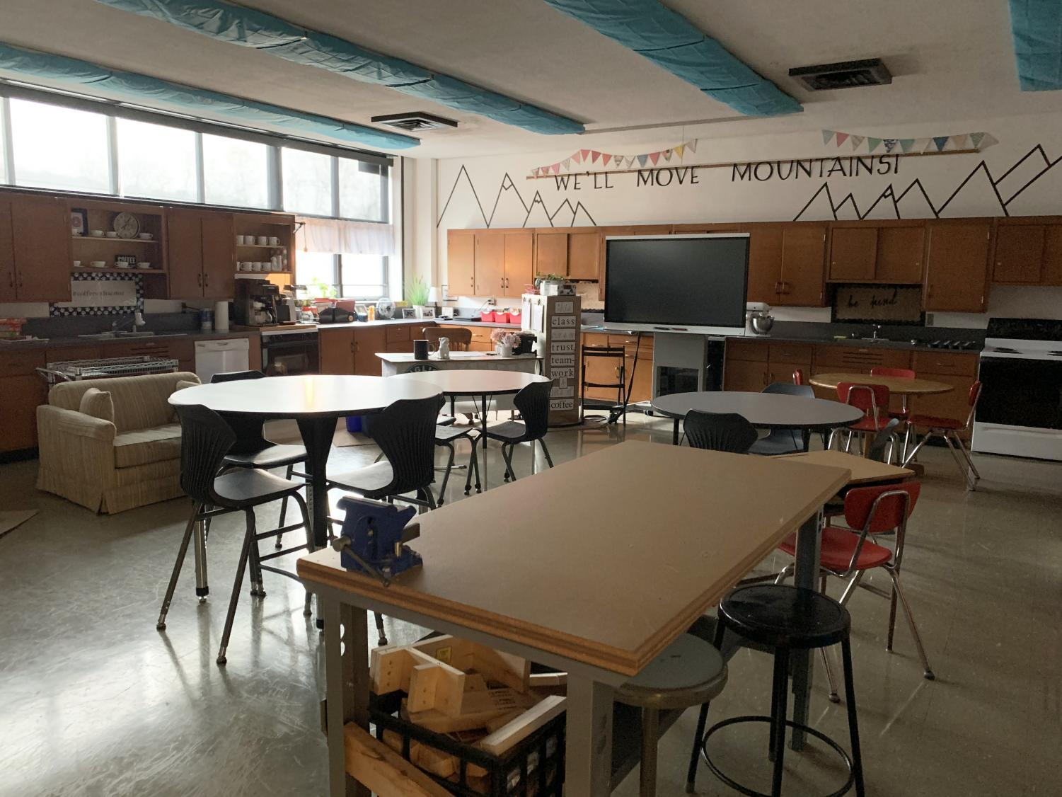 Room 116, the Life Skills classroom, is furnished with couches, high chairs and lighting covers to enhance the classroom experience for the students.