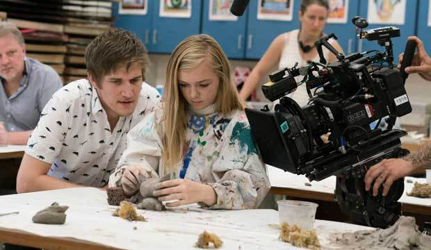 """Bo Burnham, director of the """"coming of age"""" film """"Eighth Grade,"""" helps direct actress Elsie Ficher in a scene portraying """"coming of age"""" events."""