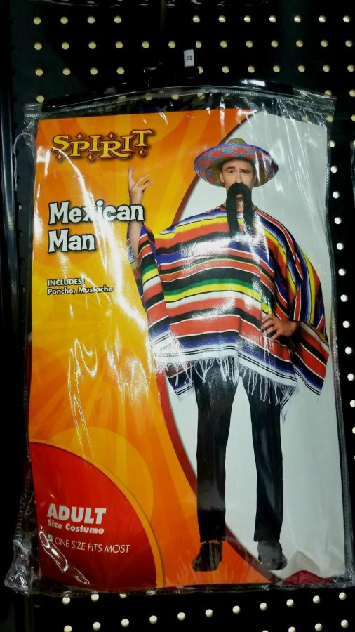 """On the packaging of a Halloween costume at Spirit Halloween in Monaca, a """"Mexican Man"""" is depicted. The costume features a poncho and mustache, representing Mexican culture according to certain popular stereotypes."""