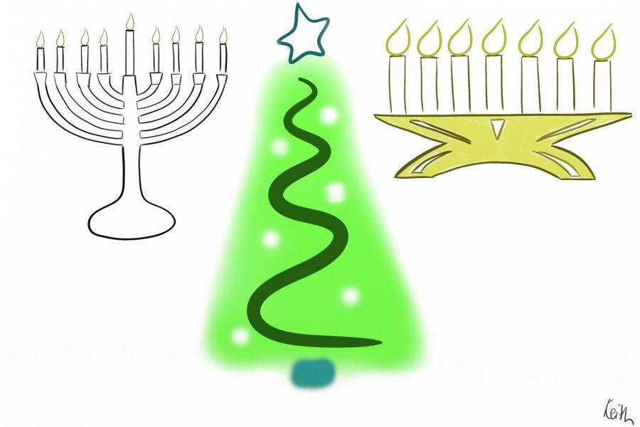 This visual represents the symbolic items used for Christmas, Hanukkah and Kwanzaa