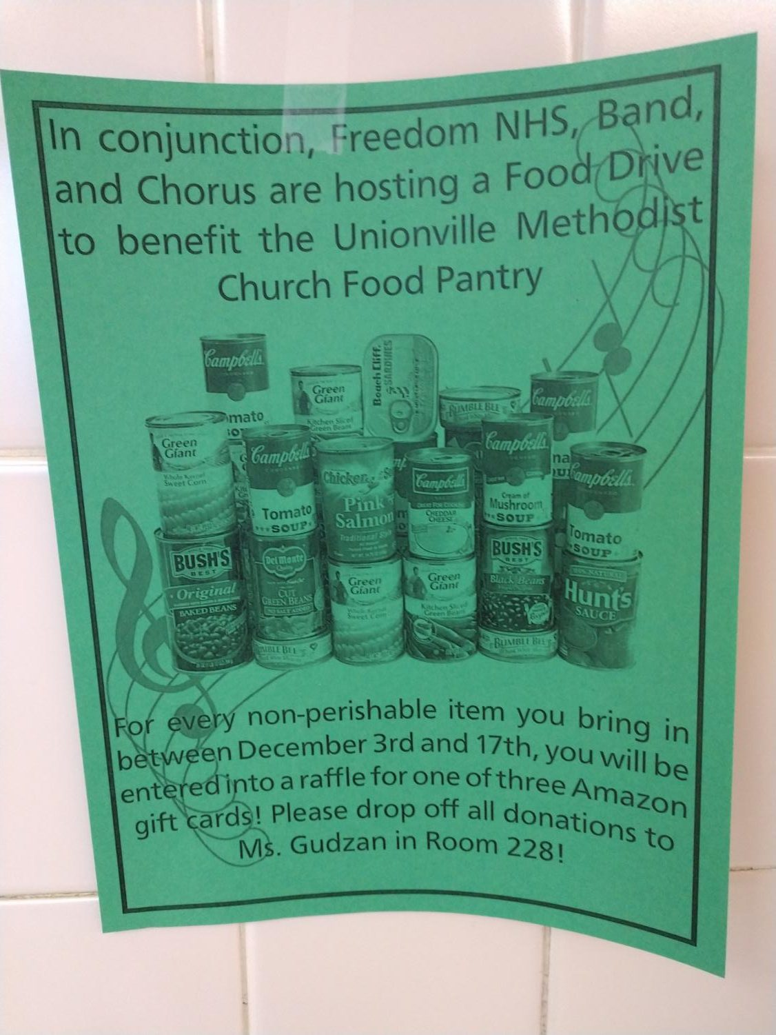 A flyer for the NHS food drive found in one of the halls of the highschool