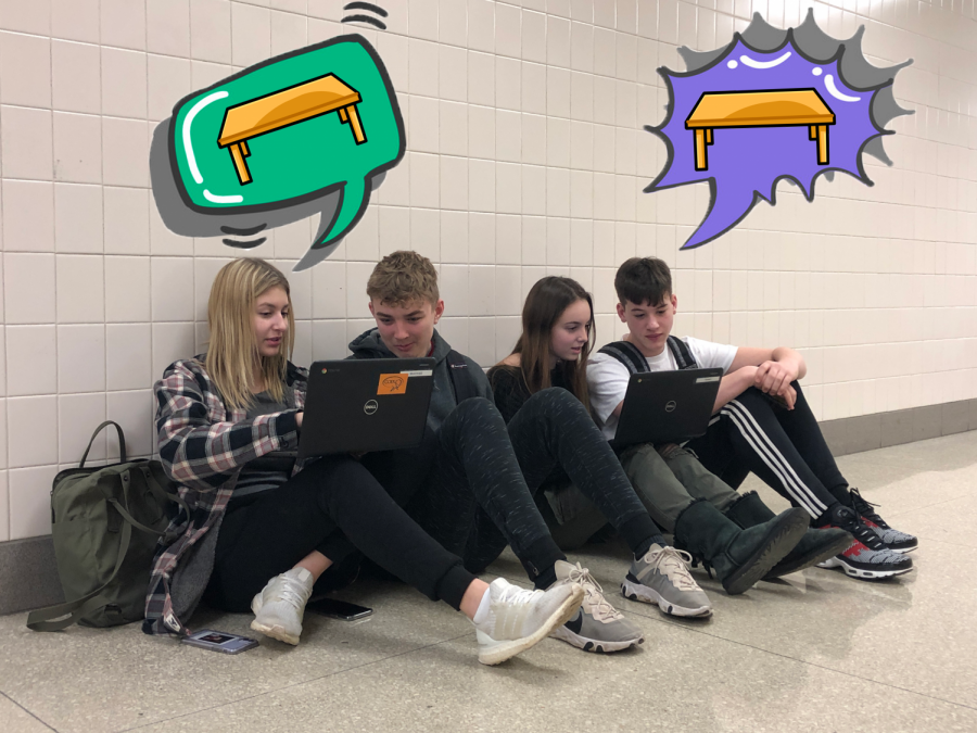 Sophomores Emma Kopac, Tristan Clear, Madison Hill and Max Bozza work on assignments in the hallway during PLT without being able to sit properly with tables and chairs.Sophomores Emma Kopac, Tristan Clear, Madison Hill and Max Bozza work on assignments in the hallway during PLT without being able to sit properly with tables and chairs.