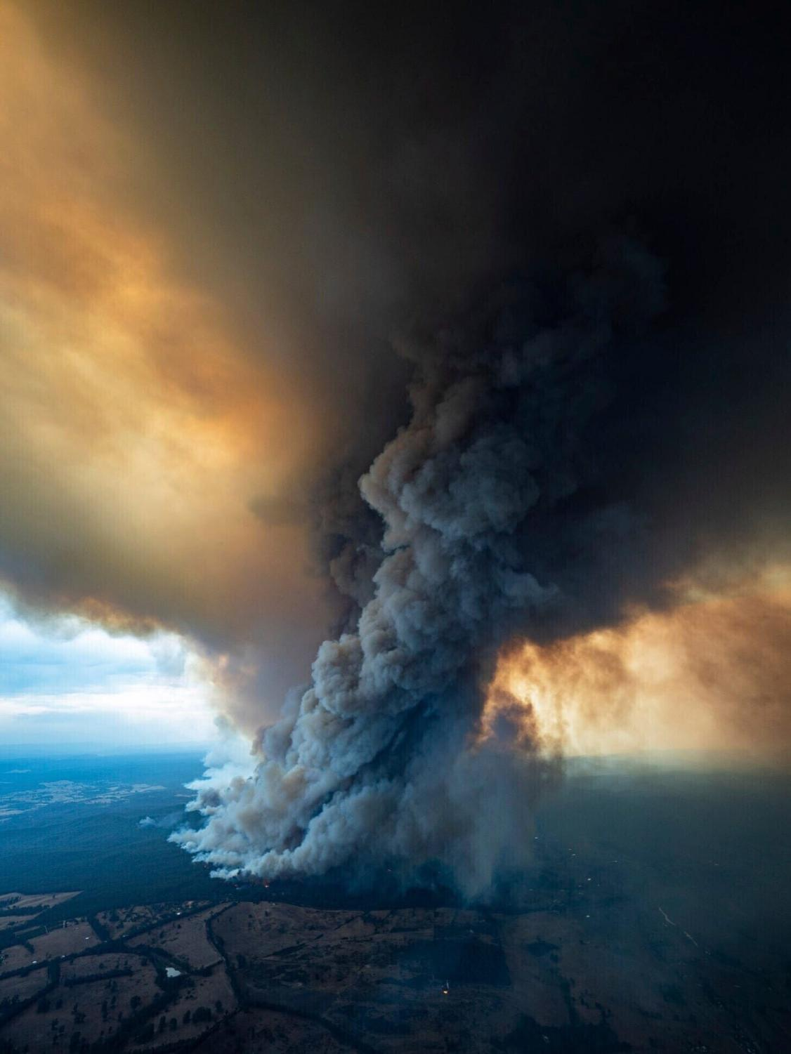 As seen from above, the fires are clearing out large areas of land and creating giant clouds of smoke that end up covering the surrounding land.