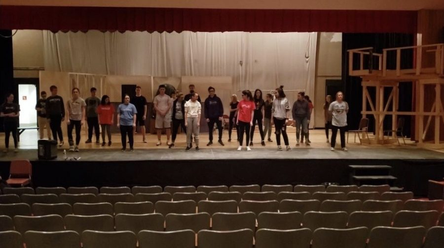 This year's cast begins to practice their lines on stage for the upcoming musical, Little Shop of Horrors.