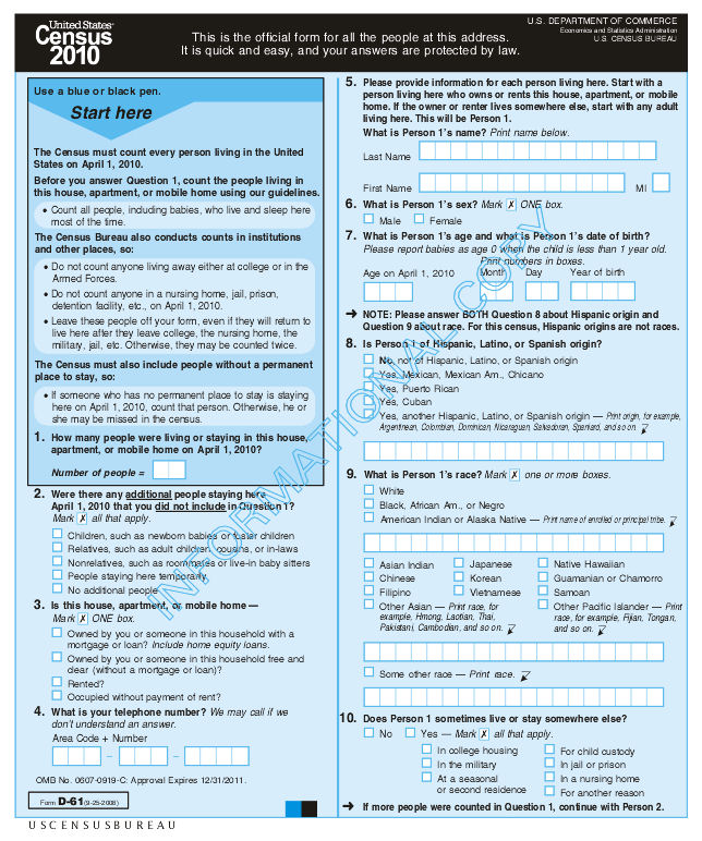 An+old+Census+form+from+2010+shows+an+example+of+how+Census+forms+will+look.