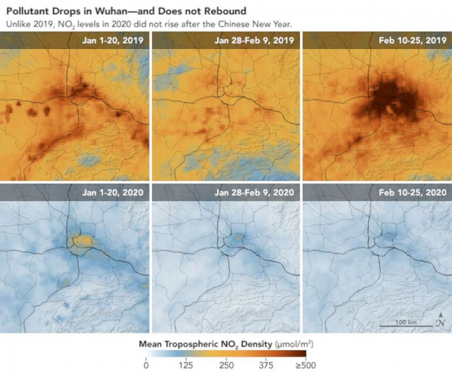 NASA+satellites+show+how+COVID-19+isolation+caused+nitrogen+dioxide+levels+to+significantly+drop+in+China+in+2020+compared+to+2019%2C+putting+fewer+pollutants+out+into+the+environment.+