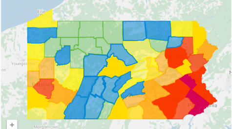 This map shows the amount of cases in each of the counties in Pennsylvania. The darker colored counties are where there are a larger number of cases, whereas the lighter colored counties have been less impacted.