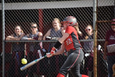On May 2, 2019, then-junior Shyann Komara makes contact with the ball leading her to achieve one of the two hits she got during this game against Beaver.