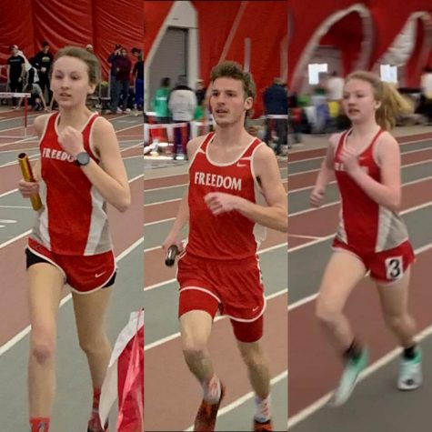 Junior Baylee Roberts, senior Adam Hessler compete in the 4 x 400 events while freshman Finley Paxton runs the mile event at the TSTCA Indoor Track and Field Championship on February 22 at Edinboro University.