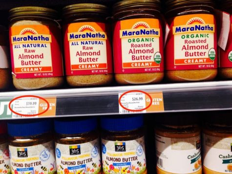 When comparing two different kinds of almond butter, MaraNatha organic roasted almond butter, $19.99 per container, was more expensive than the MaraNatha all natural raw almond butter, $26.99 per container.