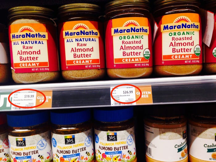 When+comparing+two+different+kinds+of+almond+butter%2C+MaraNatha+organic+roasted+almond+butter%2C+%2419.99+per+container%2C+was+more+expensive+than+the+MaraNatha+all+natural+raw+almond+butter%2C+%2426.99+per+container.