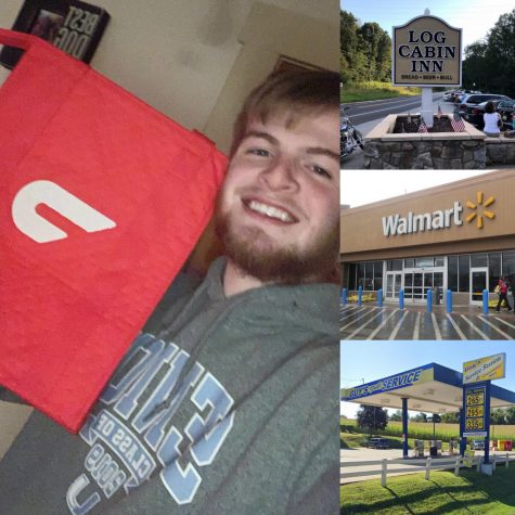 Senior Noah Spanos shows off his DoorDash delivery bag from acquiring the job after his workplace, Urban Air, was closed due to COVID-19. Other businesses pictured also relate to working students during the period of quarantine.