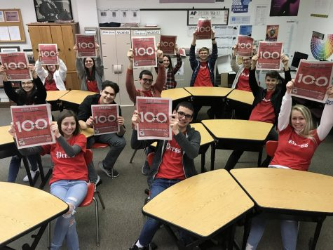 The 2019-2020 print media staff poses for a photo with the 100th issue of the FHS Press.