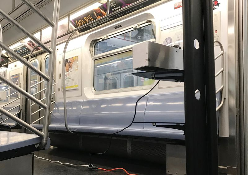 One of many UV-C lamps placed throughout two Metropolitan Transportation Authority rail yards and one bus depot starting on May 11 to help disinfect public transportation systems around New York City.